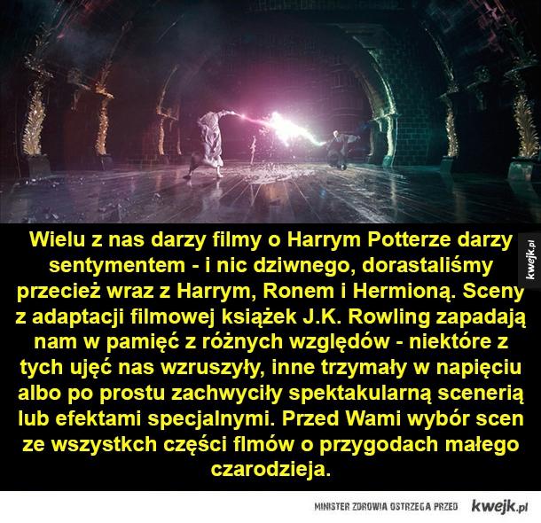 Najlepsze sceny z filmów o Harrym Potterze - Wielu z nas darzy filmy o Harrym Potterze darzy sentymentem - i nic dziwnego, dorastaliśmy przecież wraz z Harrym, Ronem i Hermioną. Sceny z adaptacji filmowej książek J.K. Rowling zapadają nam w pamięć z różnych względów - niektóre z tych ujęć nas wzruszy