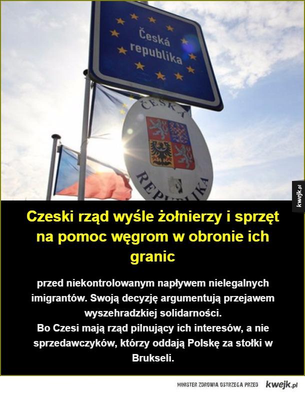 Czeski rząd wyśle żołnierzy i sprzęt  na pomoc węgrom w obronie ich granic. przed niekontrolowanym napływem nielegalnych  imigrantów. Swoją decyzję argumentują przejawem  wyszehradzkiej solidarności. Bo Czesi mają rząd pilnujący ich interesów, a nie  sprze