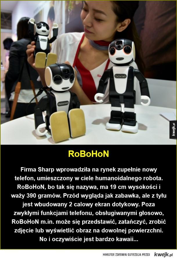 Telefon nowej generacji - RoBoHoN. Firma Sharp wprowadziła na rynek zupełnie nowy telefon, umieszczony w ciele humanoidalnego robota. RoBoHoN, bo tak się nazywa, ma 19 cm wysokości i waży 390 gramów. Przód wygląda jak zabawka, ale z tyłu jest wbudowany 2 calowy ekran dotykowy. Poza