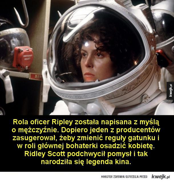 Ciekawostki o filmie Obcy - 8. pasażer Nostromo - O rolę Obcego ubiegał się Peter Mayhew, odtwórca roli Chewbacci w Gwiezdnych Wojnach, ostatecznie jednak wybór padł na Bolajia Badejo.  W kilku scenach zamiast dorosłych aktorów wystąpiły w skafandrach kosmicznych dzieci, aby spotęgować efekt wielkich rozm
