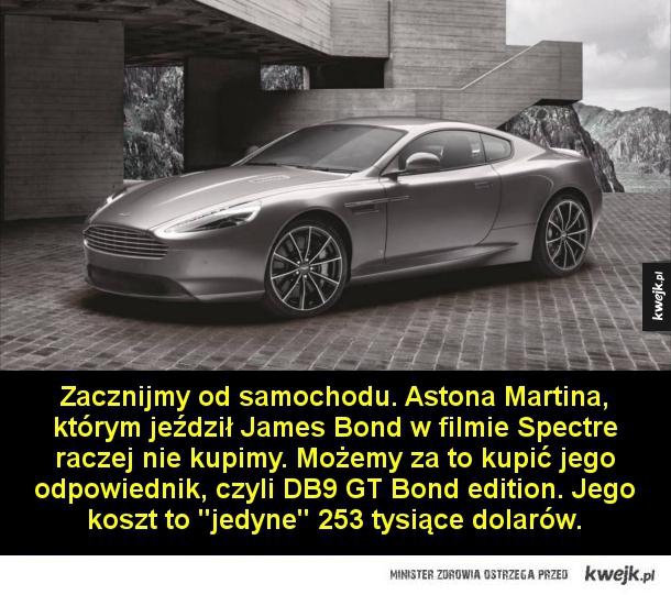 Ile trzeba wydać, żeby poczuć się jak James Bond - Zacznijmy od samochodu. Astona Martina, którym jeździł James Bond w filmie Spectre raczej nie kupimy. Możemy za to kupić jego odpowiednik, czyli DB9 GT Bond edition. Jego koszt to