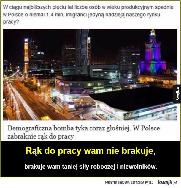 Polska - Rąk do pracy wam nie brakuje,. brakuje wam taniej siły roboczej i niewolników.