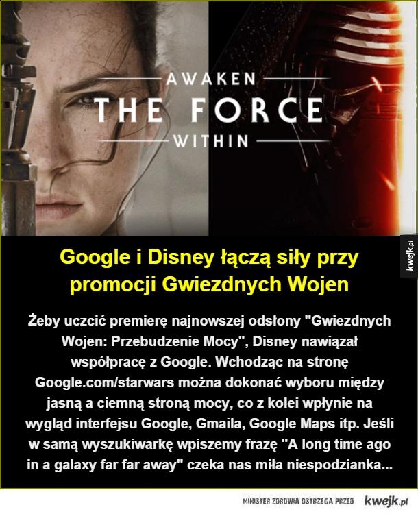 Google w wersji Star Wars - Google i Disney łączą siły przy promocji Gwiezdnych Wojen. Żeby uczcić premierę najnowszej odsłony