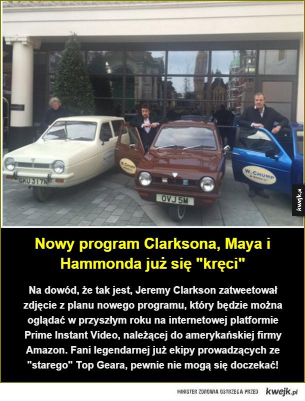 Ekipa z Top Geara już działa! - Na dowód, że tak jest, Jeremy Clarkson zatweetował zdjęcie z planu nowego programu, który będzie można oglądać w przyszłym roku na internetowej platformie Prime Instant Video, należącej do amerykańskiej firmy Amazon. Fani legendarnej już ekipy prowadzących