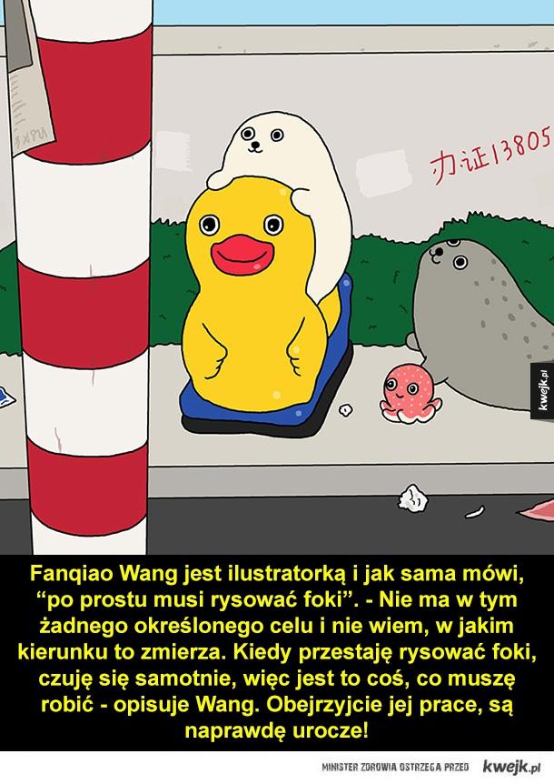 Foki w codziennych sytuacjach - Fangiao Wang jest ilustratorką i jak sama mówi,