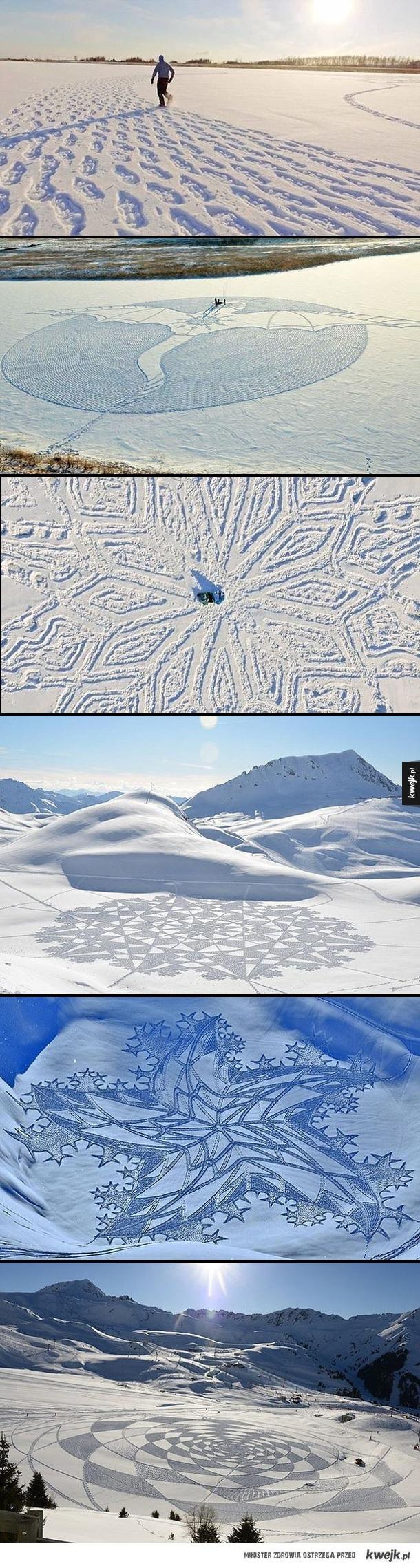 Dzieła sztuki wydeptane w śniegu przez Simona Becka