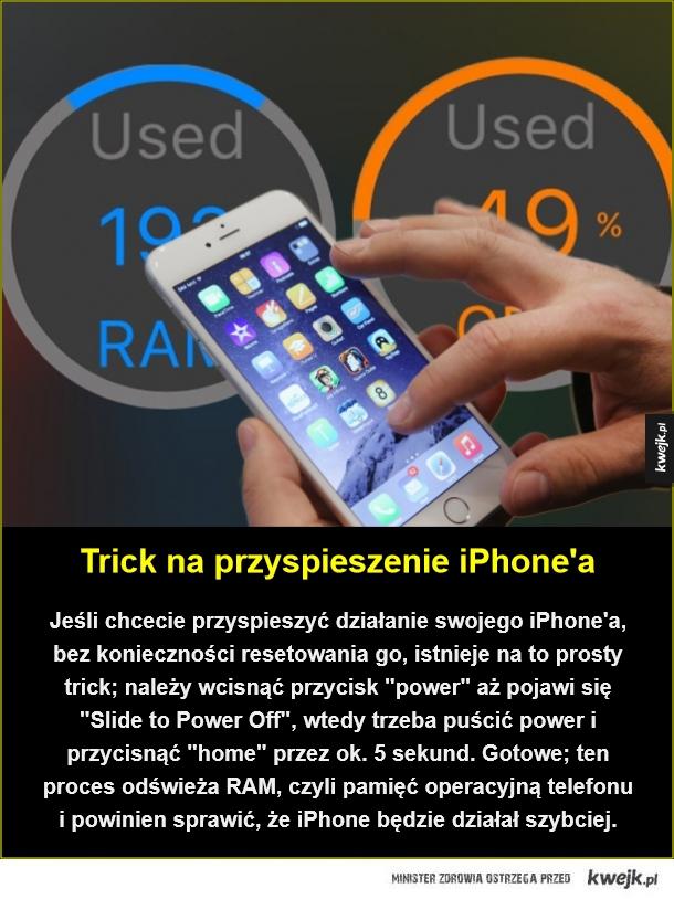Genialne w swojej prostocie - Trick na przyspieszenie iPhone'a. Jeśli chcecie przyspieszyć działanie swojego iPhone'a, bez konieczności resetowania go, istnieje na to prosty trick; należy wcisnąć przycisk