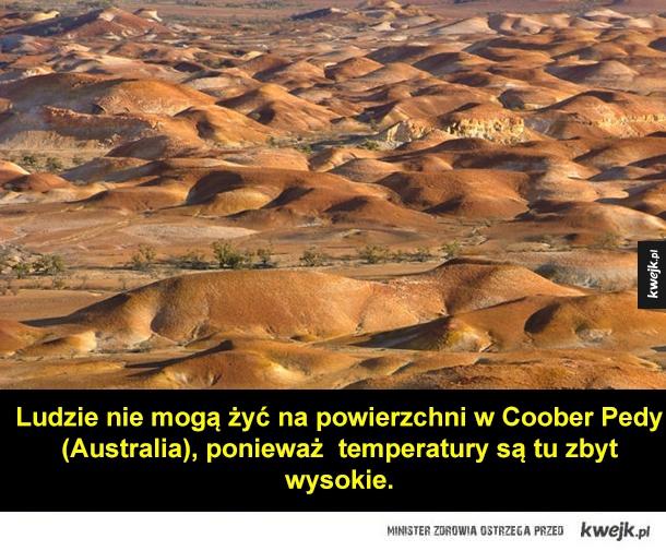 Ludzie nie mogą żyć na powierzchni w Coober Pedy (Australia), ponieważ  temperatury są tu zbyt   wysokie.