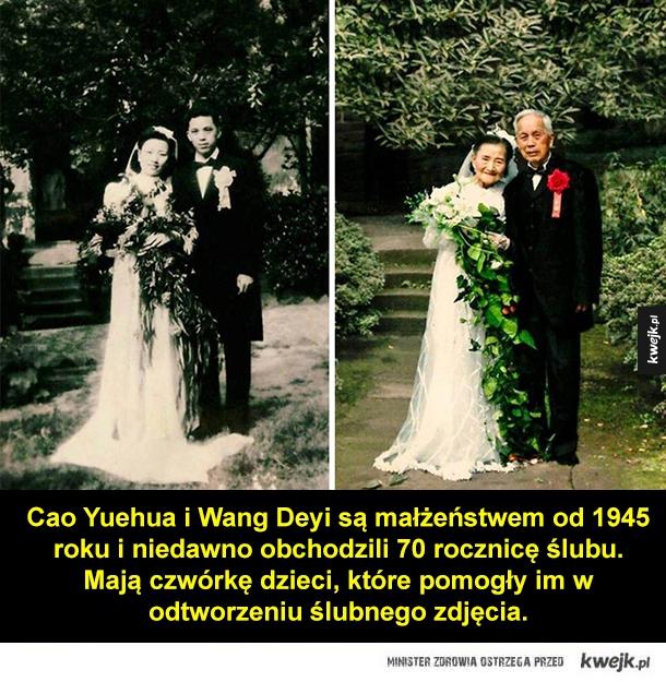 Mają prawie 100 lat i odtworzyli swoje ślubne zdjęcie - Cao Yuehua i Wang Deyi są małżeństwem od 1945 roku i niedawno obchodzili 70 rocznicę ślubu. Mają czwórkę dzieci, które pomogły im w odtworzeniu ślubnego zdjęcia.