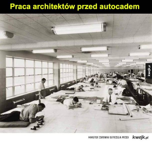 Praca architektów przed autocadem