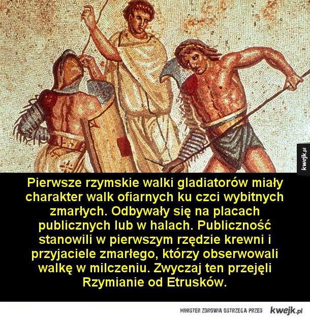 Ciekawostki o walkach gladiatorów