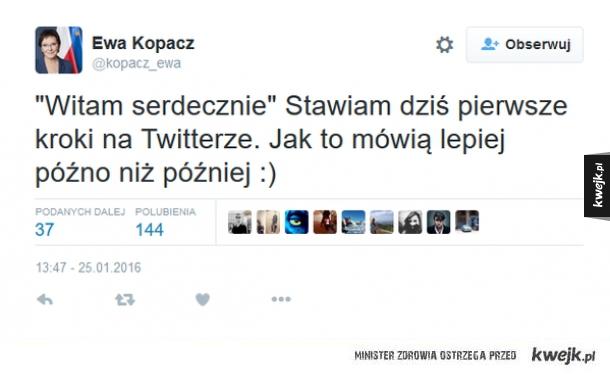 Ewa Kopacz założyła sobie konto