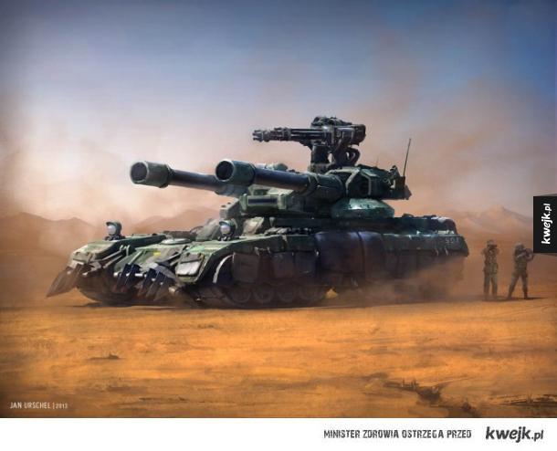 Grafiki koncepcyjne i ilustracje przedstawiające czołgi