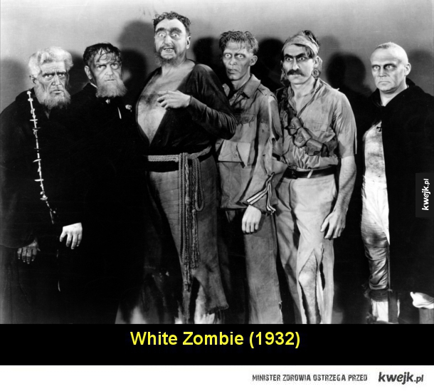 Jak przez lata zmieniał się filmowy obraz zombie - White Zombie (1932)  King of the Zombies (1941)  I Walked With a Zombie (1943)  The Plague of the Zombies (1966)  Night of the Living Dead (1968)  Dawn of the Dead (1978)  City of the Living Dead (1980)  Hell of the Living Dead (1981)  Day of the Dead (198