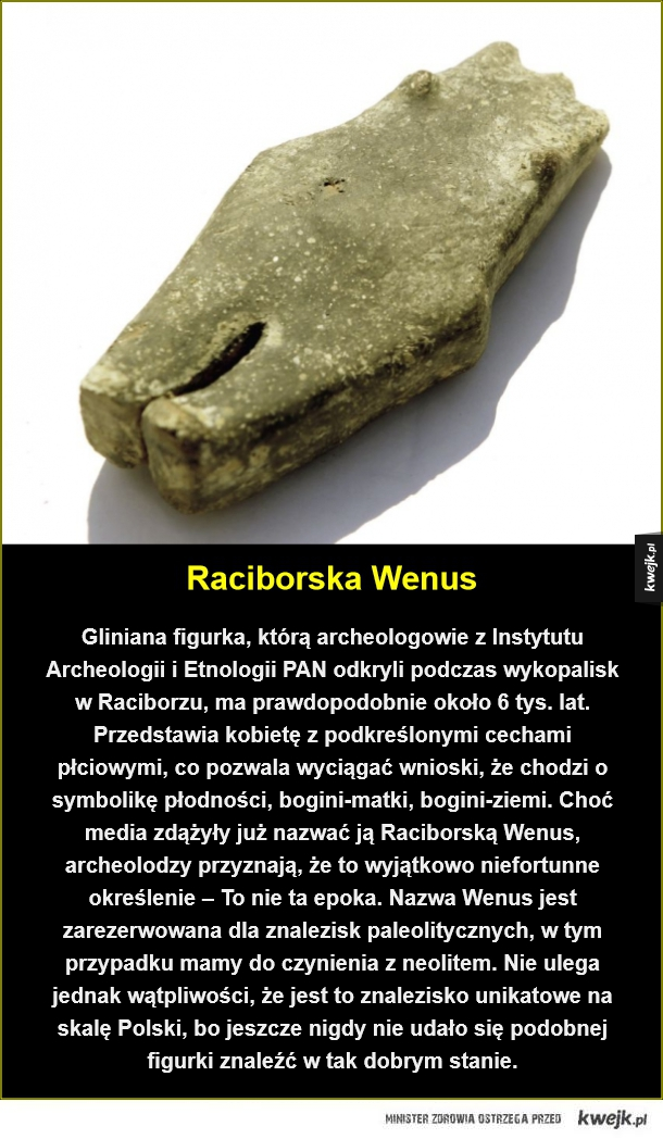 Niezwykłe odkrycie polskich archeologów - Raciborska Wenus. Gliniana figurka, którą archeologowie z Instytutu Archeologii i Etnologii PAN odkryli podczas wykopalisk w Raciborzu, ma prawdopodobnie około 6 tys. lat. Przedstawia kobietę z podkreślonymi cechami płciowymi, co pozwala wyciągać wnioski,