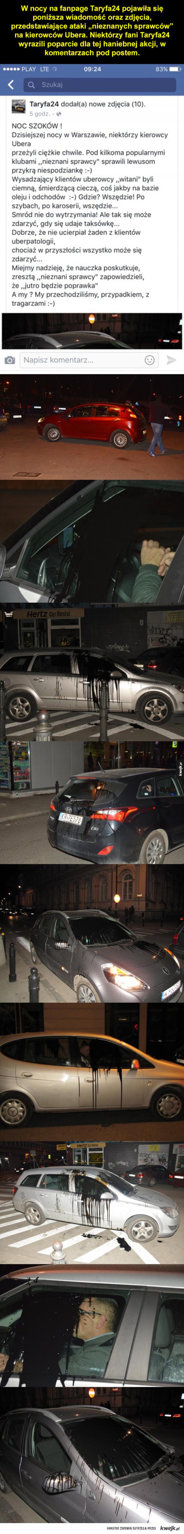 """""""Nieznani sprawcy"""" zaatakowali kierowców Ubera w Warszawie"""