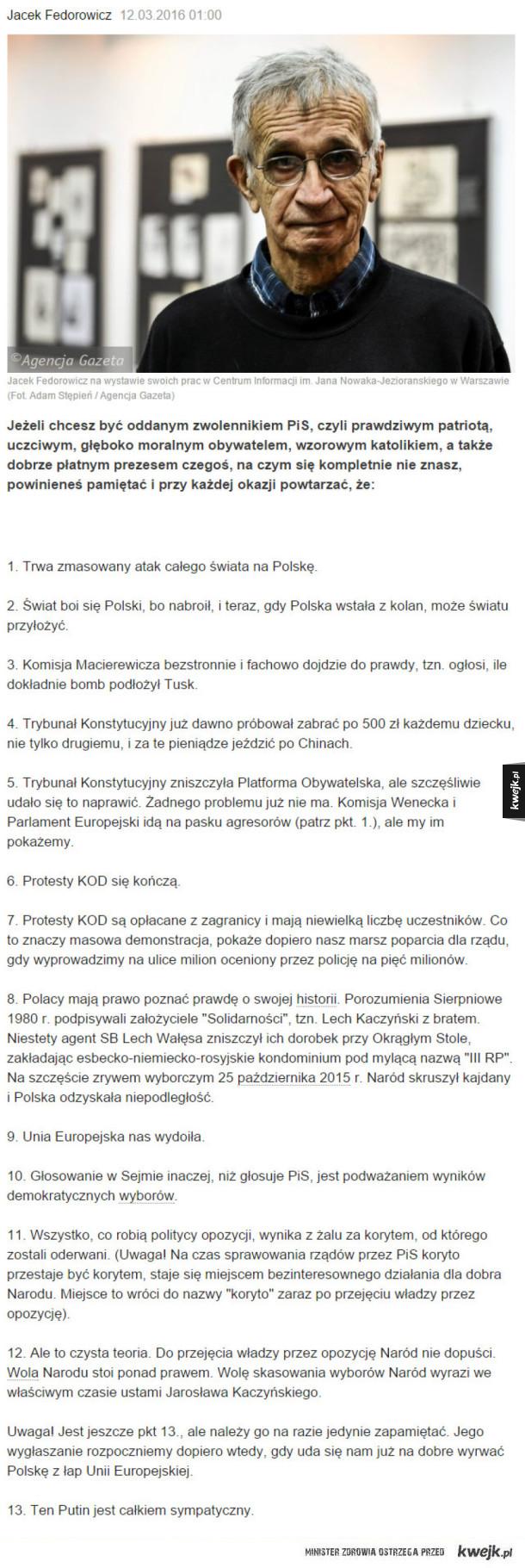 Kilka rzeczy o których warto pamiętać śledząc wydarzenia polityczne w Polsce
