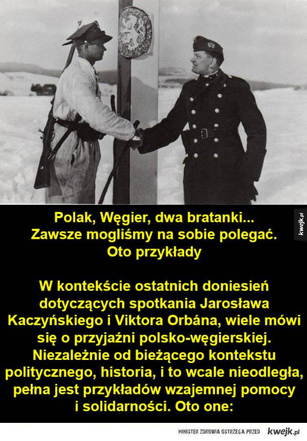 Polak, Węgier, dwa bratanki... Zawsze mogliśmy na sobie polegać - Polak, Węgier, dwa bratanki... Zawsze mogliśmy na sobie polegać. Oto przykłady W kontekście ostatnich doniesień dotyczących spotkania Jarosława Kaczyńskiego i Viktora Orbána, wiele mówi się o przyjaźni polsko-węgierskiej. Niezależnie od bieżącego kontekstu