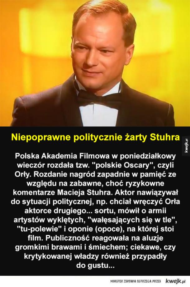 Maciej Stuhr skradł show podczas rozdania Orłów