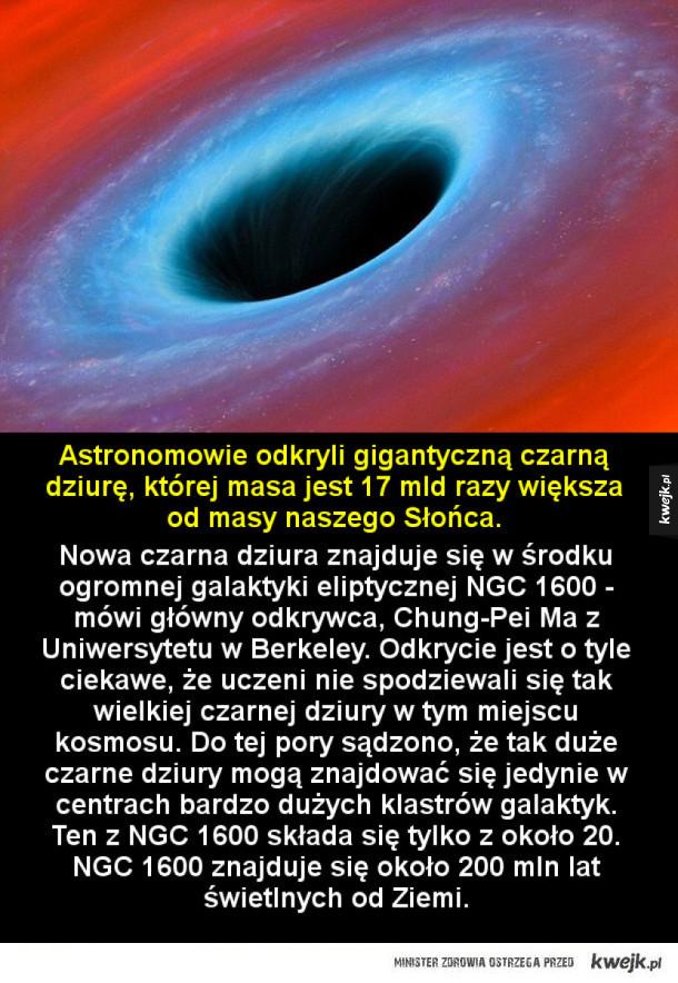 Odkryto gigantyczną czarną dziurę