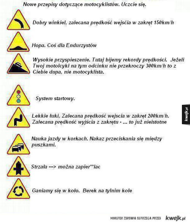 Przepisy dla motocyklistów