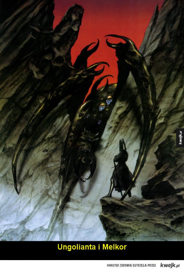 Świat Tolkiena na ilustracjach Johna Howe'a - Ungolianta i Melkor Oblężenie Angbandu Fingolfin walczy z Morgothem Ulmo, Król Morza Upadek Gondolinu Glorfindel i Balrog Bramy Nocy Gandalf odwiedza Hobbiton Smaug Rzeka pochłania Nazgule Gandalf i Balrog Eowyn i Nazgul Sam i Szeloba