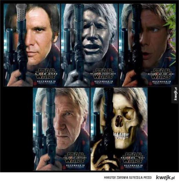 Han Solo w każdej części Star Wars