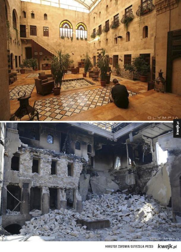 Syryjskie miasto Aleppo przed i po tym jak zostało zniszczone