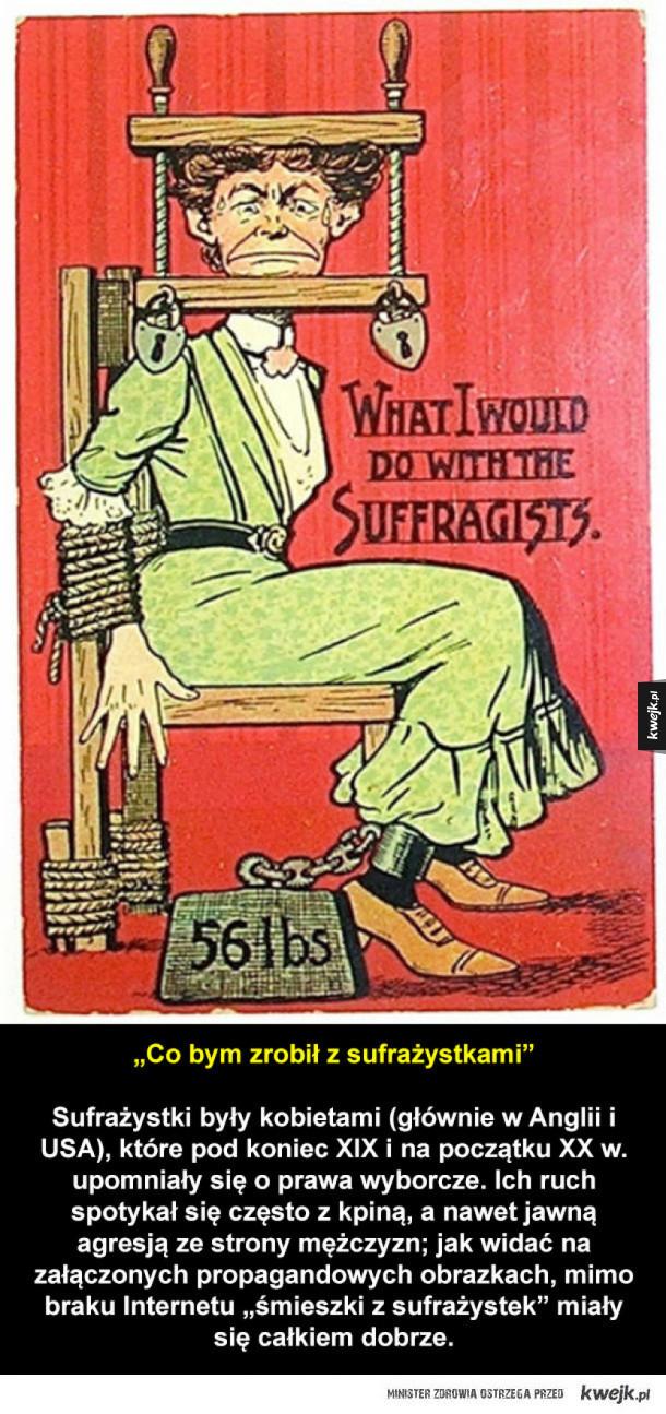 Propagandowe plakaty z XIX wieku, przeciw sufrażystkom