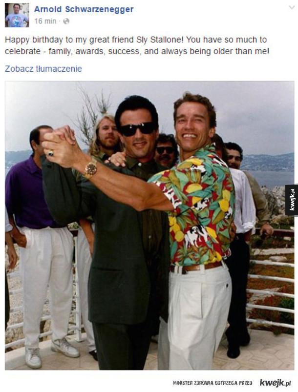 Arnie świętuje urodziny Sylvestra