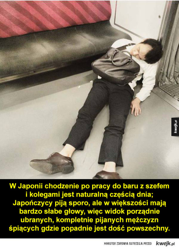 Pijani japońscy biznesmani zasną dosłownie wszędzie