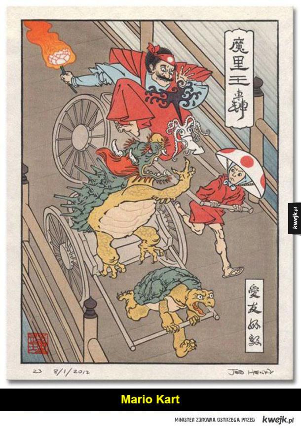 Japońskie gry i anime w stylu klasycznych drzeworytów ukiyoe