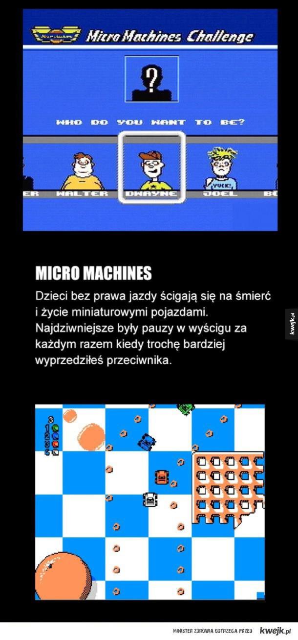 Stare dobre gry, ktoś jeszcze je pamięta - Micro machines Dzieci bez prawa jazdy ścigają się na śmierć i życie miniaturowymi pojazdami. Najdziwniejsze były pauzy w wyścigu za każdym razem kiedy trochę bardziej wyprzedziłeś przeciwnika.