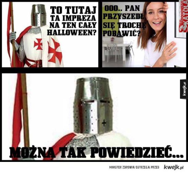 Krzyżowiec na imprezie halloweenowej