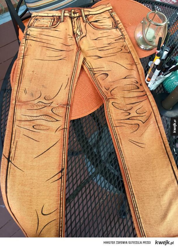 fajnie wykonane narysowane spodnie