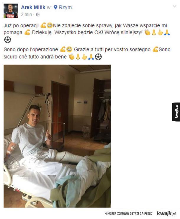Arek Milik już po operacji!