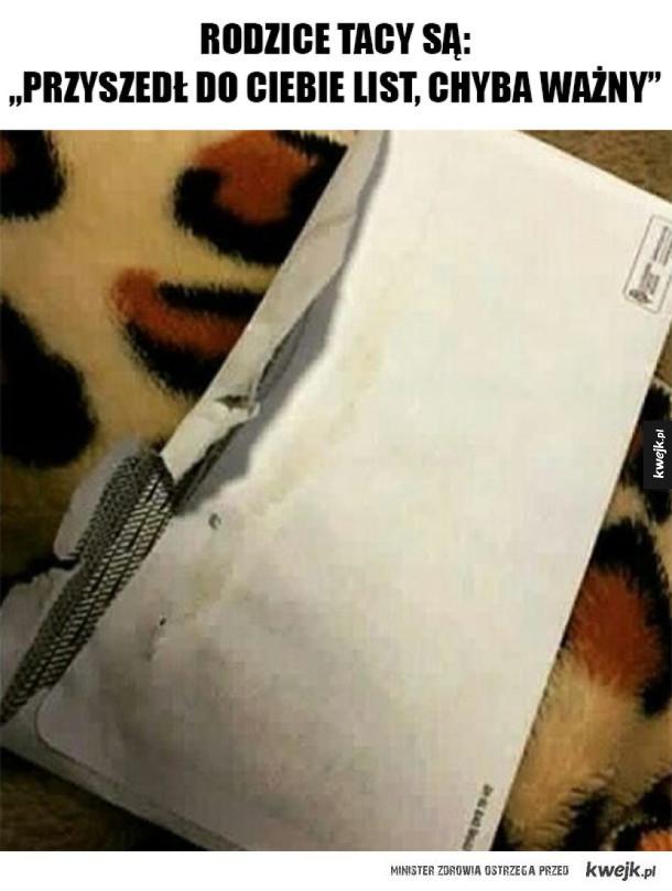 Przyszedł do mnie ważny list