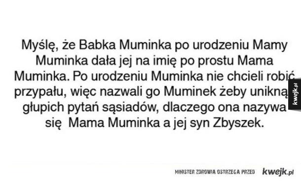 Mama Muminka - Myślę że Babka Mumimnka po urodzeniu Mamy Muminka dała jej na imię po prostu Mama Muminka. Po urodzeniu Muminka nie chcieli robić przypału, więc nazwali go Muminek żeby uniknąć