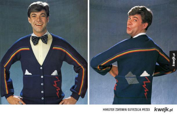 Oryginalna swetrowa moda z lat '80