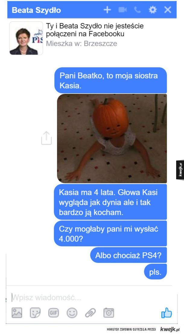 Ja w sprawie promocji - Beata Szydło facebook messengerr 4000+