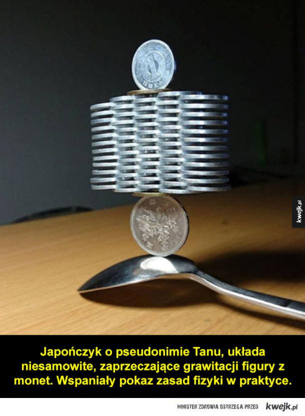 Niesamowite układy z monet, bez użycia kleju