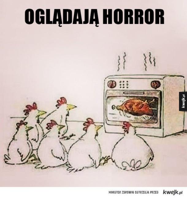 Kury oglądają horror