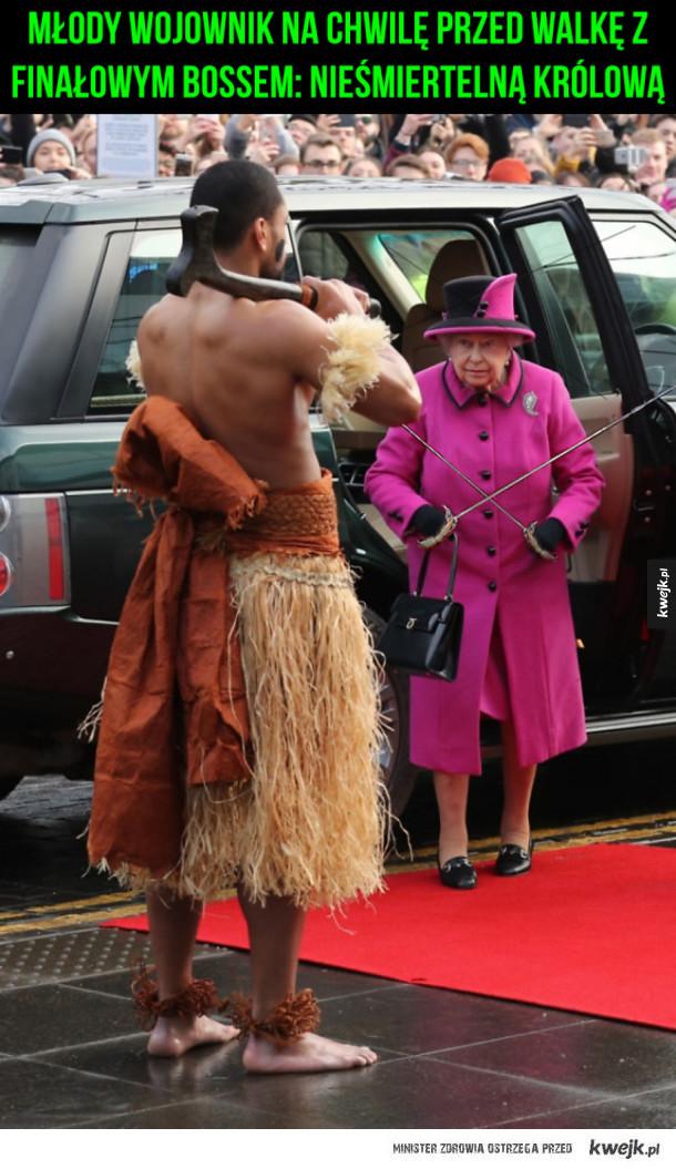 Młody wojownik na chwilę przed walkę z finałowym bossem: Nieśmiertelną Królową Elżbietą