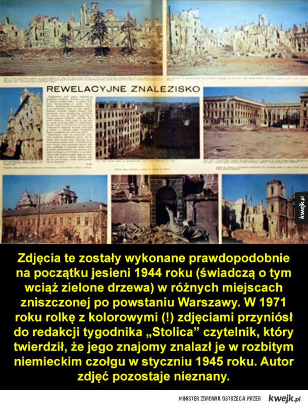 Kolorowe zdjęcia Warszawy znalezione w czołgu