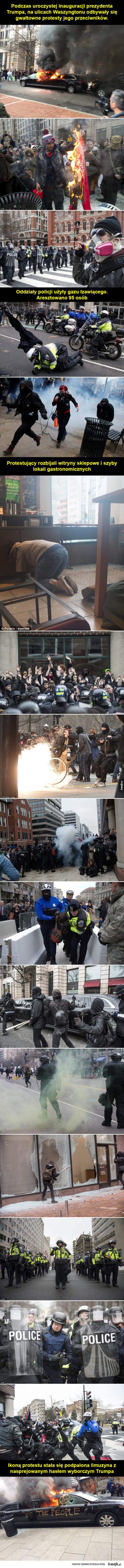Agresywne protesty przeciwników Trumpa w Waszyngtonie