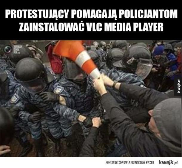 Dobre ziomki protestujący