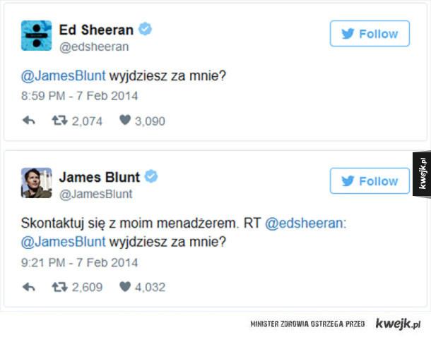Autentyczne i czasami chamskie cięte riposty z twittera Jamesa Blunta