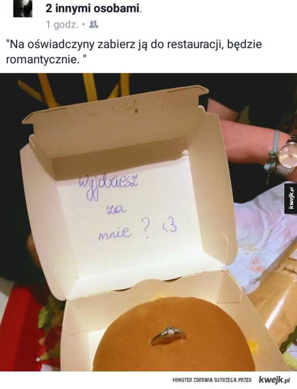 Prawdziwy romantyk - Oświadczyny w  restauracji, pierścionek w burgerze