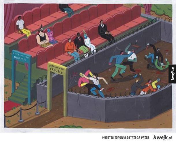 Ilustracje Brechta Vandenbroucke obnażają smutną prawdę o dzisiejszym świecie