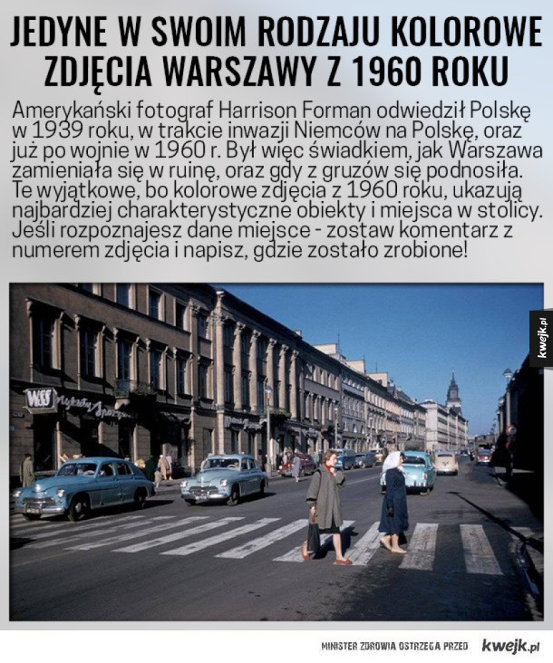 Jedyne w swoim rodzaju kolorowe zdjęcia Warszawy z 1960 roku